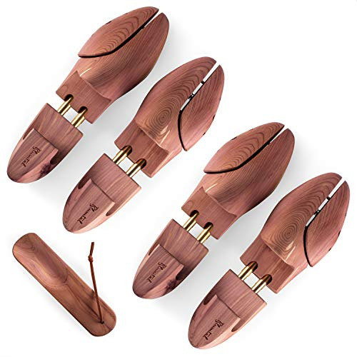 Blumtal Schuhspanner für Herren und Damen - Schuhdehner aus Zedern-Holz, mit Schuhlöffel, Größe 40-41, 2 Paar