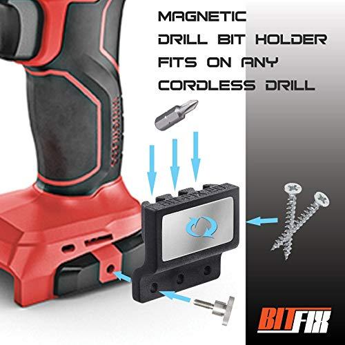 BITFIX Soporte magnético para brocas de taladro titular de tornillos universal soporte de herramientas se monta fácilmente en la máquina de perforación inalámbrica