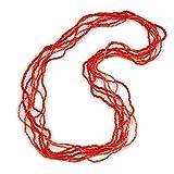 Avalaya Collier à perles en verre rouge écarlate à plusieurs rangs 70 cm de long