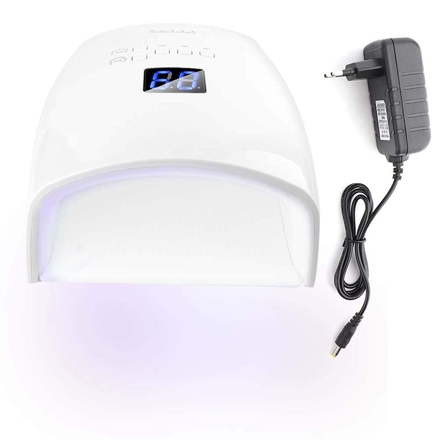 外観寺院外観48Wネイルドライヤー 30光 自動センサー 5タイマー付き UV LEDネイルランプ (ホワイト)