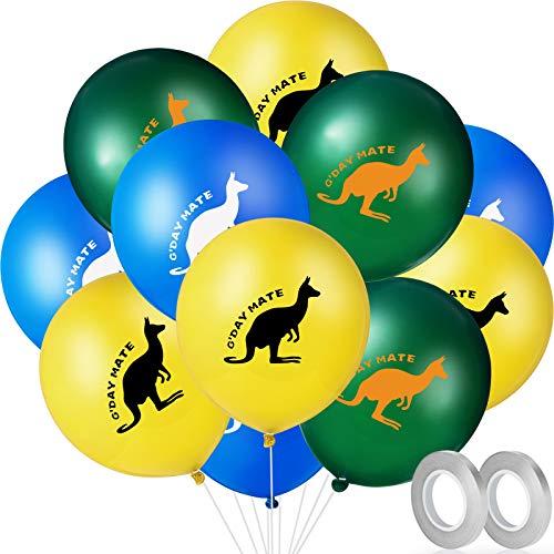 Set de Globos de Canguro, Incluyes 36 Globos de Día de Australia Globos de Fiesta de Temática Animal y 2 Cintas de Globo Gris Plateado para Decoraciones de Fiesta Cumpleaños Baby Shower Día Nacional