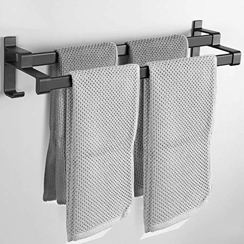 Wtbew-u Toallero para baño, toallero con doble barra de toalla y ganchos, aleación de aluminio macizo, acabado mate, barra de toalla para puerta sin necesidad de perforación, negro 30 cm