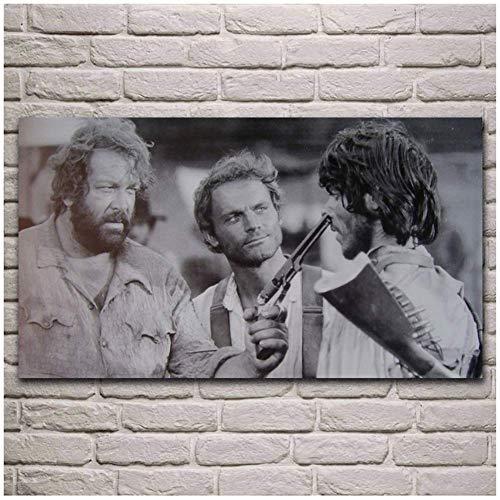 A&D alte Filme Kunstwerk Terence Hill Bud Spencer Wohnzimmer Dekor Home Wandkunst Dekor Stoff posterPrint auf Leinwand-80x140cmx1pcs-No Frame