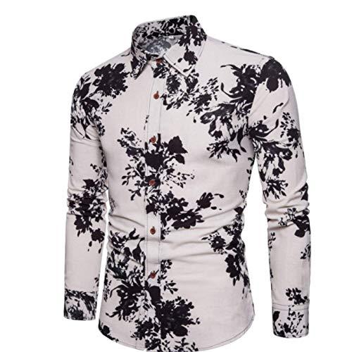 Camisas de Vestir para Hombre Camisa Estampada Funky de Manga Larga Camisa Casual Tops Florales Elegantes Camisas con Botones de Fiesta de Boda con patrón único 3XL