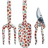 Decorative Aluminum Garden Tool Set - Spade, Secateurs, Fork (Red Poppy)