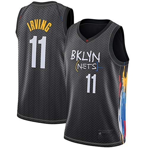 CNMDG Kyrie Irving Jersey para hombre, 2021 City Edition Brooklyn Nets 11 # camisetas de baloncesto azules, unisex sin mangas, ropa deportiva, chaleco deportivo de gimnasio (S-2XL) negro-M