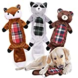 No Stuffing Dog Squeaky Toys for Small Dogs, Squeaky Plush Dog Toys Tough Durable Squeaker Toys for Dogs Pets, Fox, Raccoon, Bear