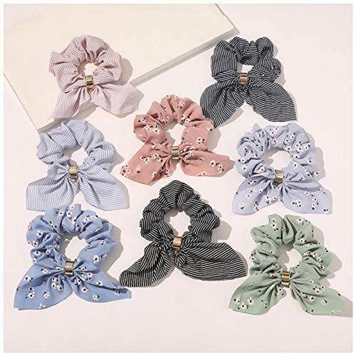 KUANGWENC Summer Simplicity - Diadema de orejas de conejo, elasticos, accesorios para el cabello para mujeres, lindas bandas para niñas tiara suave, 8 unidades