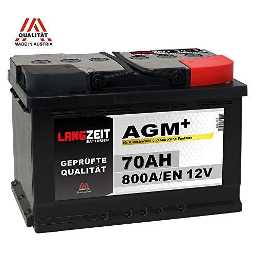 Preisvergleich Produktbild LANGZEIT AGM+ 70Ah 12V 800A / EN Start-Stop Autobatterie VRLA Batterie