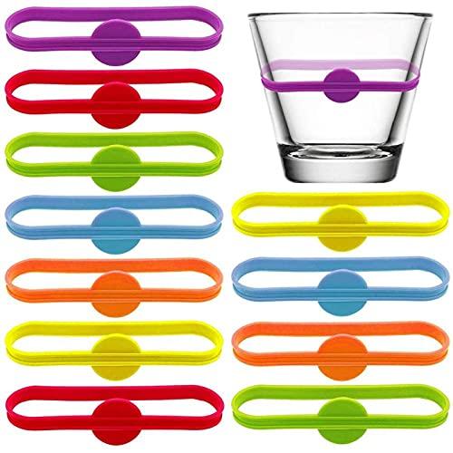 SUANCAIYU Cerveza para Bar Party Etiquetas de vino Vasos Etiqueta de Bebida de Grado Alimenticio Silicona Marcas Largas Tiras Cáliz Etiqueta Marcadores de Vidrio (Color: 12pcs)
