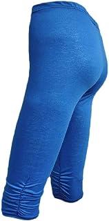 CBTLVSN Women Cropped Pants Cotton Knee-Length Elastic Basic Legging