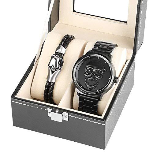 YISUYA männer Schwarz Big Face Quarz Uhren, 3D Schädel handschlaufe 30 mt Wasserdichte Edelstahl Mesh Armbanduhr für Männer