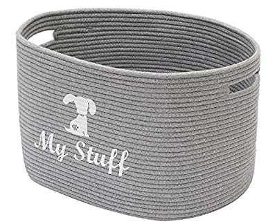 Geyecete Dog Storage Basket Oval Cotton Rope Basket Dog Toy Storage Basket - Laundry Basket Storage Bin Pet Toy Storage Boxes Living Room Organizer-Gray