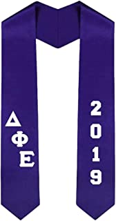 Custom Delta Phi Epsilon DPHIE Greek Diagonal Lettered Graduation Sash Stole With Year