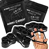 4PCS Hand Therapy Finger Stretcher, 4 Levels Hand Resistance Bands, Hand Therapy for Arthritis, Carpal Tunnel & Post-Surgery Recovery, Finger Exerciser for Guitar and Rock Climbing