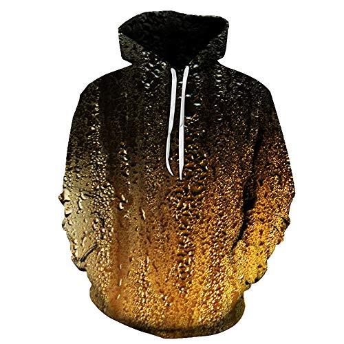 BEIXUNDIANZI Sweethearts Outfit Mens Lustige 3D Hoodies Mit Kapuze Frauen Sweatshirts Digital Realistisch Ich Bin in der Zeit Trinken Bier Modekleidung A-Black XL