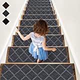RIOLAND Stair Treads Carpet Non-Slip Indoor 15 PCS Wood Stair Treads Rugs Anti Moving Modern Stair Runners Safety for Kids Dogs, 8' X 30', Diamond Gray