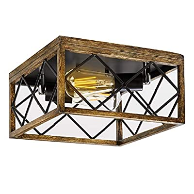 FIGDIFOR Industrial Vintage Flush Mount Ceiling Light Fixture, 2-Lights Adjustable Angle Metal Square Rustic Farmhouse Ceiling Lights for Hallway,Entryway,Dining Room, Bedroom,Kitchen, Stairway