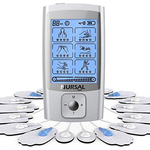 NURSAL TENS EMS Unit Upgraded 24 Modes Muscle Stimulator with 16 Electrode Pads, Rechargeable Electronic Massager for Pain Relief & Muscle Therapy with Storage Pouch/Pads Holder/Lanyard