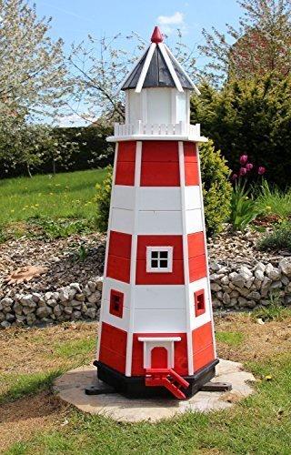 holzdekoladen 1,40m XXL Leuchtturm rot/weiß Typ 2 mit Solarbeleuchtung