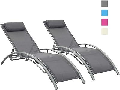 Amazon.com: Juego de 2 sillas reclinables Doit para patio al ...