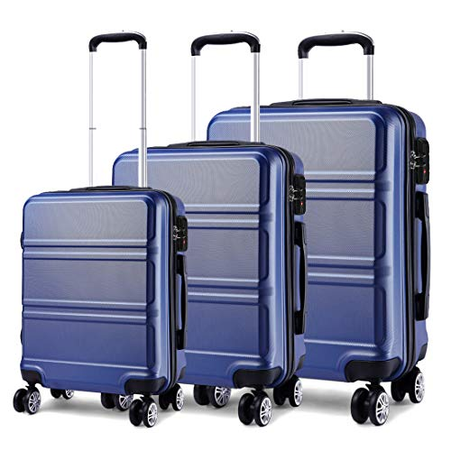 Kono Luggage Sets of 3 Piece Lightweight 4 Spinner Wheels Hard Shell Trolley Case 20'/24'/28' (Navy Set)