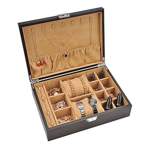 JIANGCJ Bella Cajas de joyería de Madera Cofre con la Caja de joyería de la Almohada del Reloj para la Caja de Trinket del Gancho del Collar de 7 Femeninas