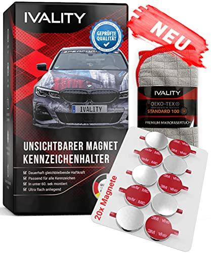 IVALITY® 100% Clean Hochwertiger Magnet Kennzeichenhalter Rahmenlos für 1 Kfz Kennzeichen | Nummernschildhalterung Auto | Wechselkennzeichenhalter Österreich | Auto-Zubehör | Car License Plate