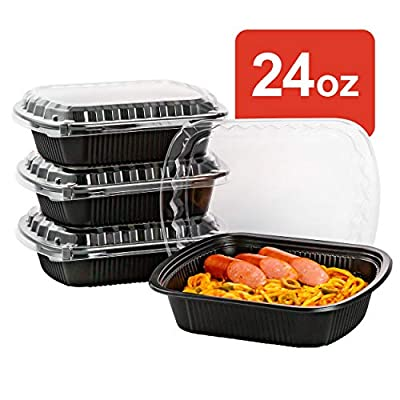 50 Pack Fried Chicken Wing Meal Prep Containers with Lids, Take Away Bento Box for Macaroni, Sushi Tray in Restaurant/Supermarket/Catering/BBQ/Party   BPA Free   Stackable   Microwave/Freezer Safe