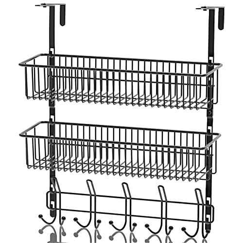Sobre la puerta Gancho para colgar para colgar organizador de estantes con para almacenamiento, canasta de alambre negro para el organizador (2 rejillas)