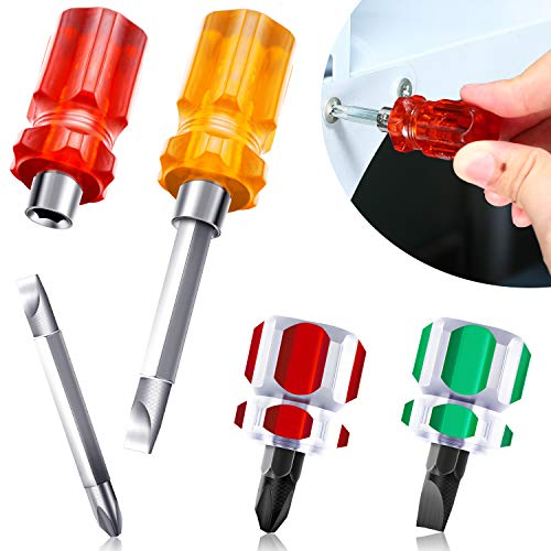 Juego de 4 Piezas Destornilladores para Máquina de Coser, Incluye Mini Destornillador de Cabeza Plana Corta, Destornillador de Cabeza Cruzada y Destornillador 2 en 1