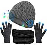(3 in 1) Unisex Music Beanie Set, Bluetooth 5.0 Cuffed Winter Hat w/Mic Stereo Speaker + Touchscreen Gloves + Neck Gaiter Scarf, Cold Weather Gear, Xmas Birthday Gift for Men Women Teenagers (Grey)
