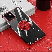 iPhone 13 Pro Max ケース リング付き 透明 アイホン 13 Pro Max ケース クリア TPU 耐衝撃 カバー メッキ おしゃれ スタンド機能 防塵 薄型 軽量 変形防止 全面保護カバー iPhone 13 Pro Max 6.7インチ アイフォンケース (赤)
