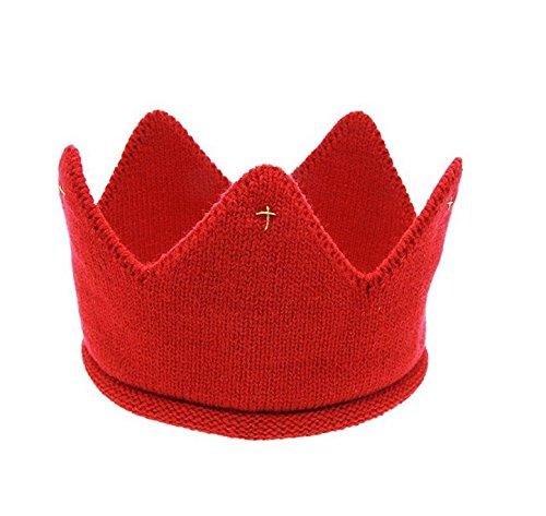 Nalmatoionme mignon bébé garçon fille douce et chaude Bonnet en crochet chaud Cap Couronne Chapeau (Rouge)