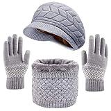 CheChury Sombrero de Boina de Punto de Invierno con Bufanda y Guantes Mujer Moda Calentar Sombreros Gorras de Punto Guantes Táctiles Deportes Invierno Suave Forrado Set de Bufanda Conjunto de Guantes