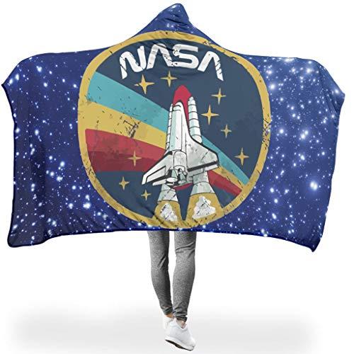 O5KFD&8 Fledermausdecke NASA Stars Muster Gedruckt Prämie Super Gemütlich Robe Hoodie - Rainbow Rocket Zwei Größen Passt Erwachsene/Frauen Verwenden White 130x150cm