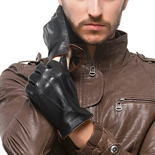 "Nappaglo Men's Genuine Touchscreen Nappa Leather Gloves Driving Winter Warm Mittens (S (Palm Girth:up to 8""), Black (Non-Touchscreen))"