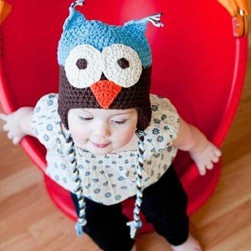 Bebé, toddleer, y las niñas Crochet bebé gorro Beanie sombrero animal gorro búho con Bule marrón hecho a mano con 100% hilados de algodón de proteína de leche (grande: 191/2