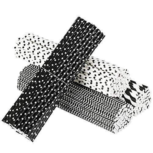 PATAZOK Cannucce di Carta,200 Pezzi Cannucce di Carta Biodegradabili Nero Cannucce di Carta per Feste Bevande Monouso Conveniente Festa di Compleanno