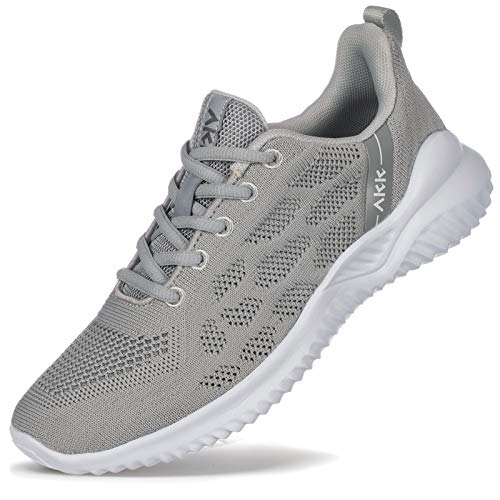 Akk Womens Tennis Shoes Lightweight Walking Shoes Casual Sport Breathable Athletic Running Shoes Sneakers for Gym Jogging Fitness Nursing Grey Size 5.5