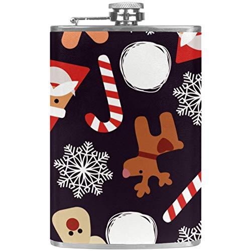 Petacas de acero inoxidable para regalo de Navidad y copos de nieve, con tapa de piel, para hombres y mujeres, 227 ml