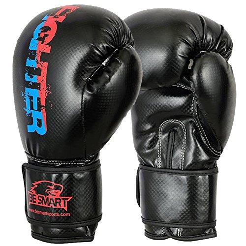 Smart Pro Leder Boxhandschuhe, für MMA, Sparring Boxsack, Muay Thai Trainingshandschuhe, Herren damen Kinder, Carbon Red & Blue