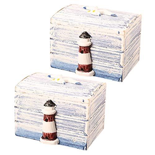 HEALLILY 2Pcs Holz Nautischen Schmuck Veranstalter Box Vintage Handgefertigte Mediterrane Dekorationen Andenken Geschenkbox für Ringe Armband Halsketten Schmuckstücke Nautischen Marine Dekor