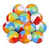 SYZ 12' Beach Balls Bulk - Inflatable Swimming Pool Toys for Kids Birthday Party Supplies Favors Luau Decorations - Blow Up Classic Rainbow Color Beachball Summer Water Games Fun Gifts (12 Pack)