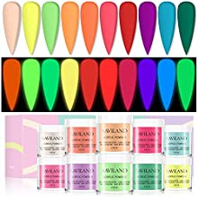 Saviland Acrylic Powder Set - Glow in the Dark Acrylic Nail Powder Kit 10 Neon Colors Professional Polymer Powder for Acrylic Nails Extension DIY Nail Manicure Kit