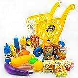 Goodvk Carritos de Compras para Niños Simulación Juguetes educativos Juego Compras 3-6 años niña Juguetes for niños Traje de Casa Juguete Divertido (Color : Yellow, Size : 26x13x29.5CM)