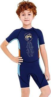 Fdrirect Conjunto completo de roupa de mergulho para meninos, manga comprida de 2,5 mm de neoprene, traje de banho infanti...