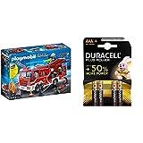 PLAYMOBIL City Action Camión de Bomberos con Luces y Sonido, a Partir de 4 Años (9464) + Duracell, Plus AAA, Pilas Alcalinas (Paquete de 4) 1,5 Voltios LR03 MN2400