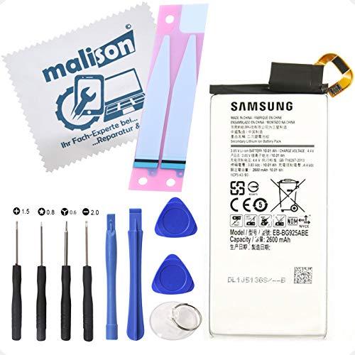 Batería para Samsung Galaxy S6 Edge | SM-G925F | EB-BG925ABE | Batería de repuesto | Incluye paño de limpieza de pantalla | Batería con tiras adhesivas y juego de herramientas