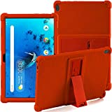 Funda para Lenovo Tab M10 (TB-X505F / TB-X605F / TB-X705F) de 10,1 pulgadas, con soporte, de silicona, suave, antigolpes, de goma, carcasa protectora para tablet Lenovo Tab M10 (naranja)